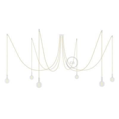 Spider, sospensione multipla a 6 cadute, metallo bianco, cavo RN06 Juta, Made in Italy.
