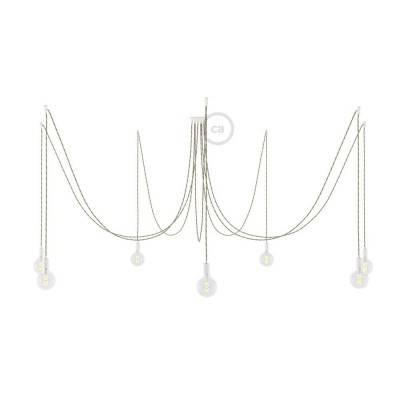 Spider, sospensione multipla a 7 cadute, metallo bianco, cavo TN07 Country, Made in Italy.