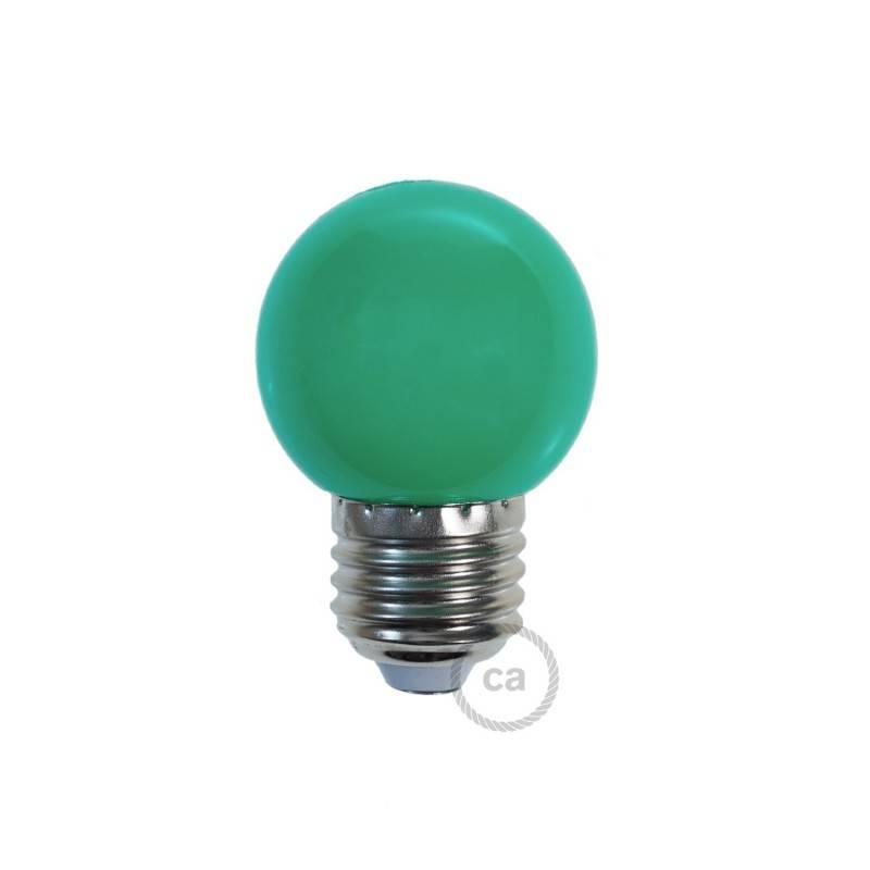 Lampadina LED Globetta G45 Decorativa 1W E27 2700K - Colore Verde