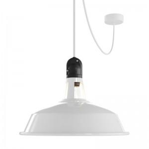 EIVA ELEGANT Lampada a sospensione per esterni con paralume, 5 m cavo tessile, rosone in silicone e portalampada IP65 waterproof