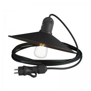 Snake Eiva con paralume Swing, lampada portatile per esterni, 5 m cavo tessile, portalampada IP65 waterproof e spina