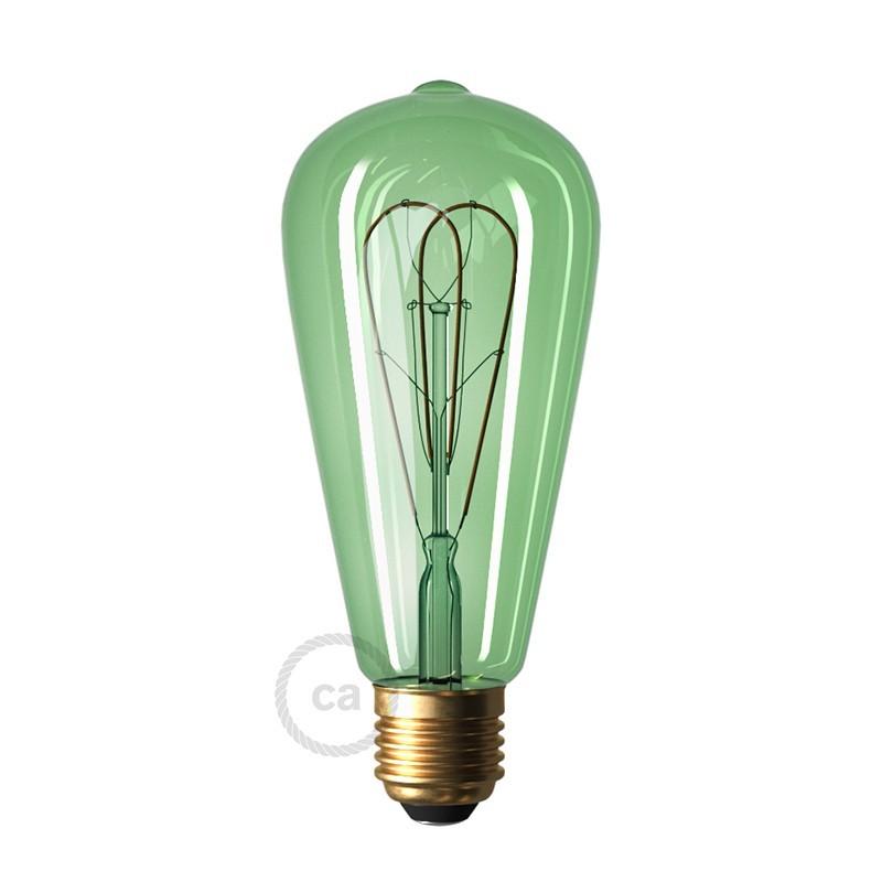 Lampadina Smeraldo LED Edison ST64 Filamento Curvo a Doppio Loop 5W E27 Dimmerabile 2200K