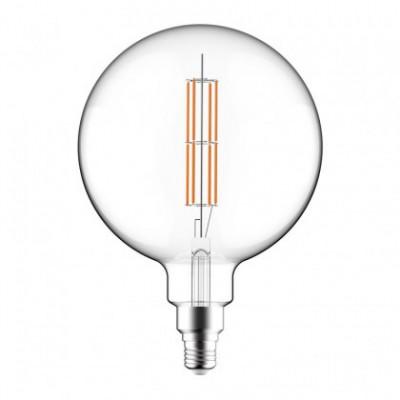 Lampadina Trasparente LED XXL Sfera G200 Doppio Filamento Dritto 12W E27 Dimmerabile 2700K