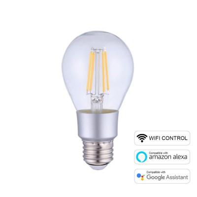 Lampadina LED Smart Wifi A60 Goccia Trasparente Filamento Dritto 6W E27 Dimmerabile 2700K
