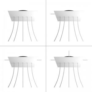 Rosone XXL Rose-One quadrato, 400 mm con 5 fori in linea e 4 fori laterali