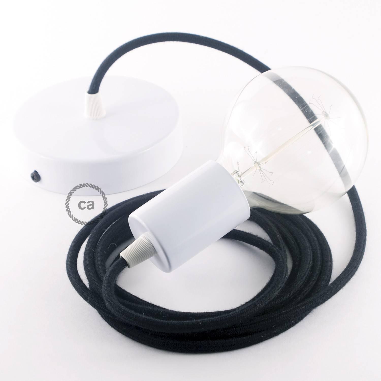 Pendel singolo, lampada sospensione cavo tessile Cotone Nero RC04
