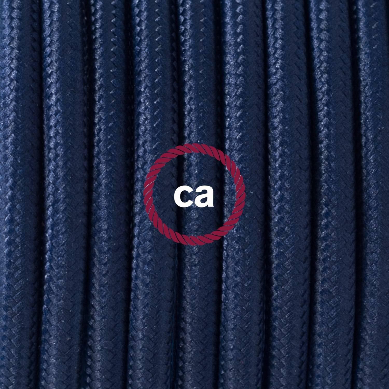 Pendel singolo, lampada sospensione cavo tessile Effetto Seta Blu Scuro RM20