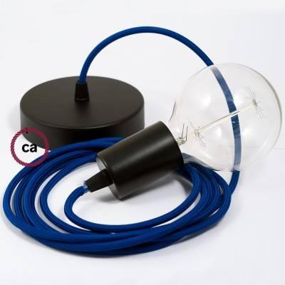 Pendel singolo, lampada sospensione cavo tessile Effetto Seta Blu RM12
