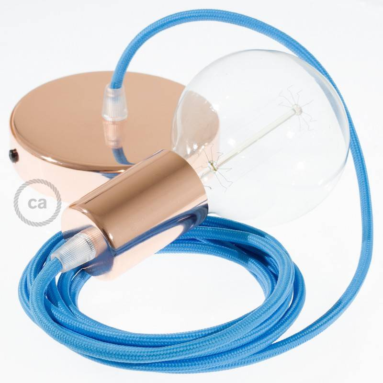 Pendel singolo, lampada sospensione cavo tessile Effetto Seta Turchese RM11