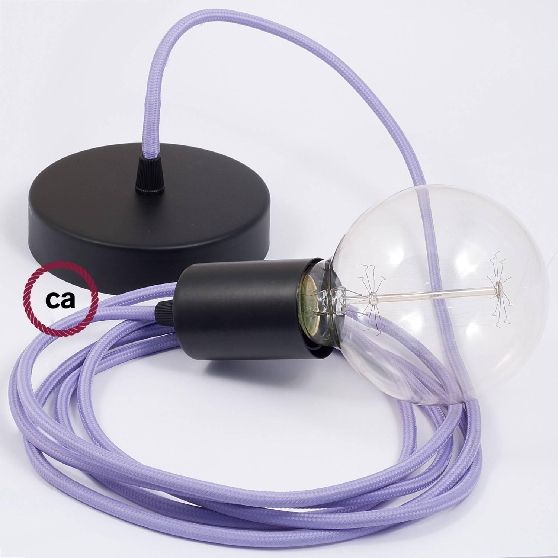 Pendel singolo, lampada sospensione cavo tessile Effetto Seta Lilla RM07