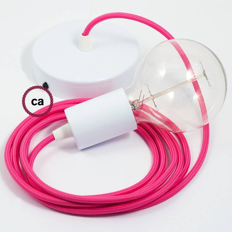 Pendel singolo, lampada sospensione cavo tessile Effetto Seta Fucsia RM08