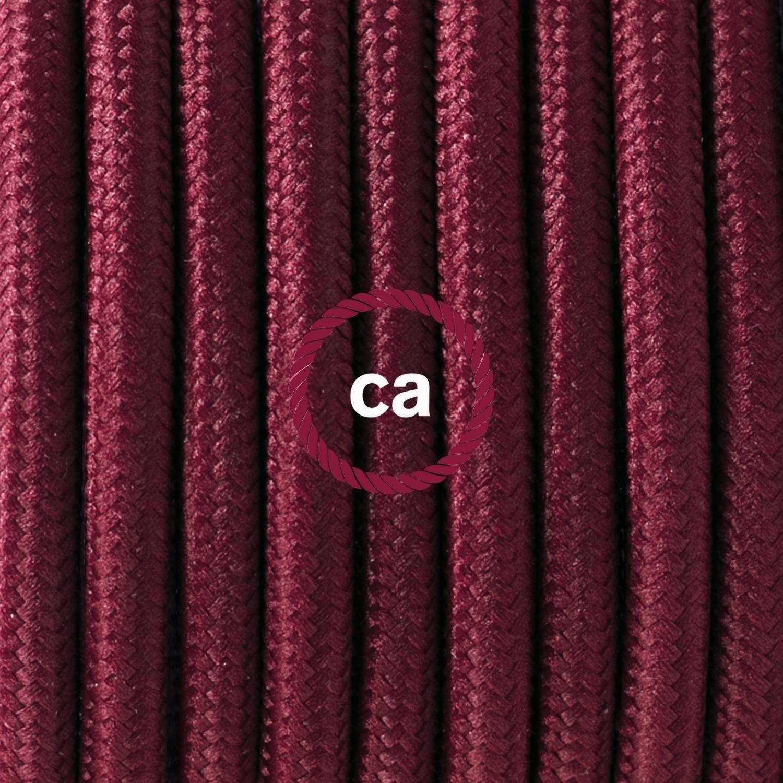 Pendel singolo, lampada sospensione cavo tessile Effetto Seta Bordeaux RM19
