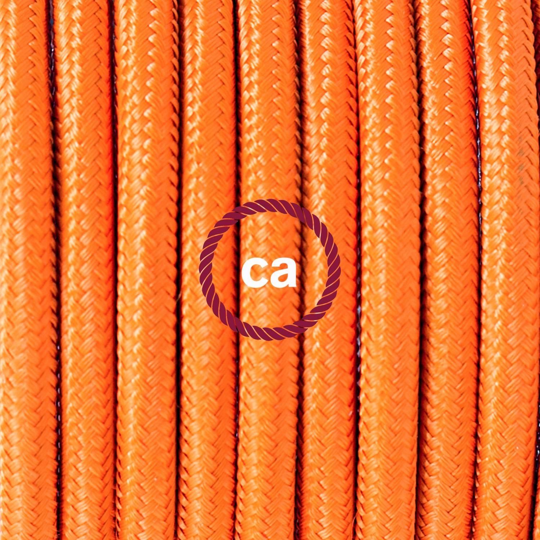 Pendel singolo, lampada sospensione cavo tessile Effetto Seta Arancione RM15