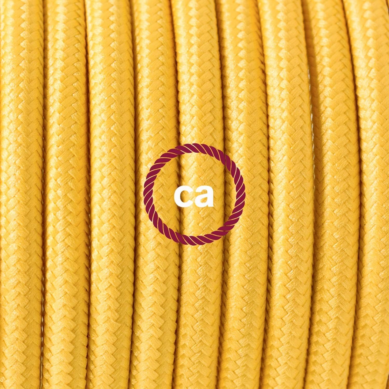 Pendel singolo, lampada sospensione cavo tessile Effetto Seta Giallo RM10