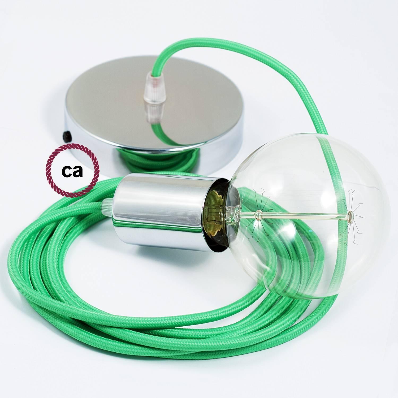 Pendel singolo, lampada sospensione cavo tessile Effetto Seta Lime RM18