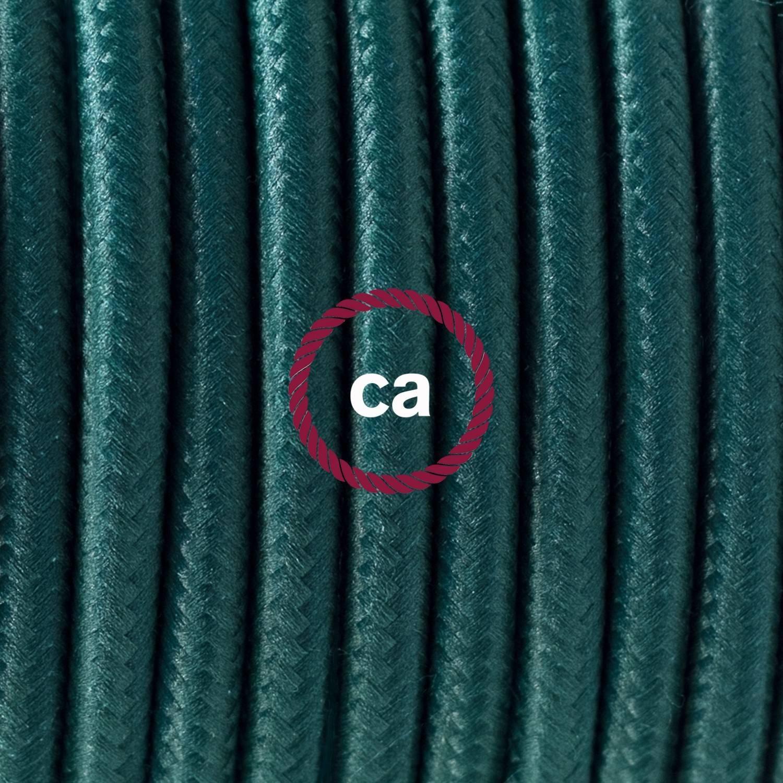 Pendel singolo, lampada sospensione cavo tessile Effetto Seta Verde scuro RM21
