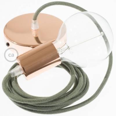 Pendel singolo, lampada sospensione cavo tessile Cotone Grigio Verde RC63