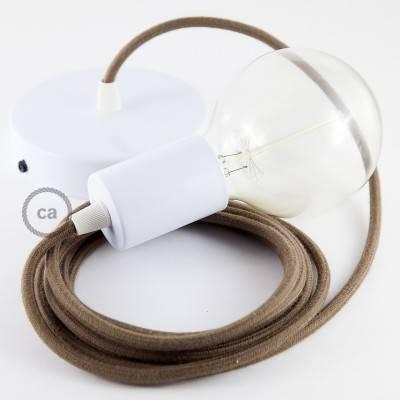Pendel singolo, lampada sospensione cavo tessile Cotone Marrone RC13