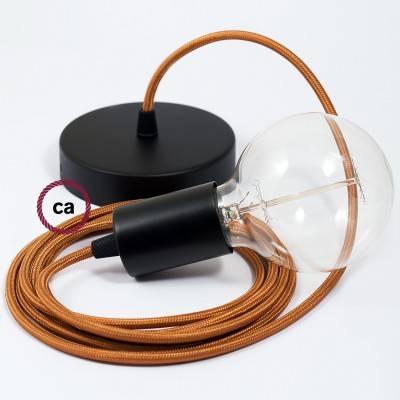 Pendel singolo, lampada sospensione cavo tessile Effetto Seta Whiskey RM22