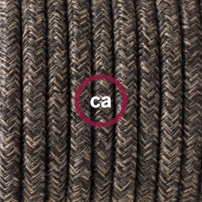 Pendel singolo, lampada sospensione cavo tessile Lino Naturale Marrone RN04