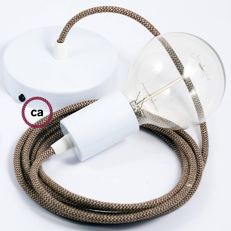 Pendel singolo, lampada sospensione cavo tessile ZigZag Corteccia RD73