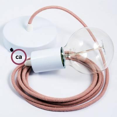 Pendel singolo, lampada sospensione cavo tessile ZigZag Rosa Antico RD71