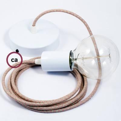 Pendel singolo, lampada sospensione cavo tessile Losanga Rosa Antico RD61