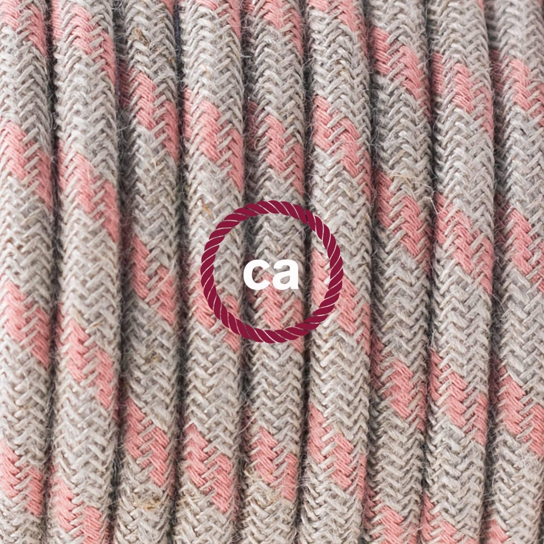 Pendel singolo, lampada sospensione cavo tessile Stripes Rosa Antico RD51