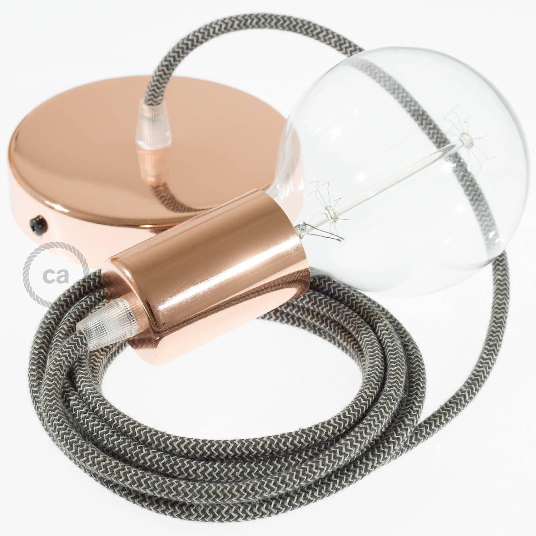 Pendel singolo, lampada sospensione cavo tessile ZigZag Antracite RD74
