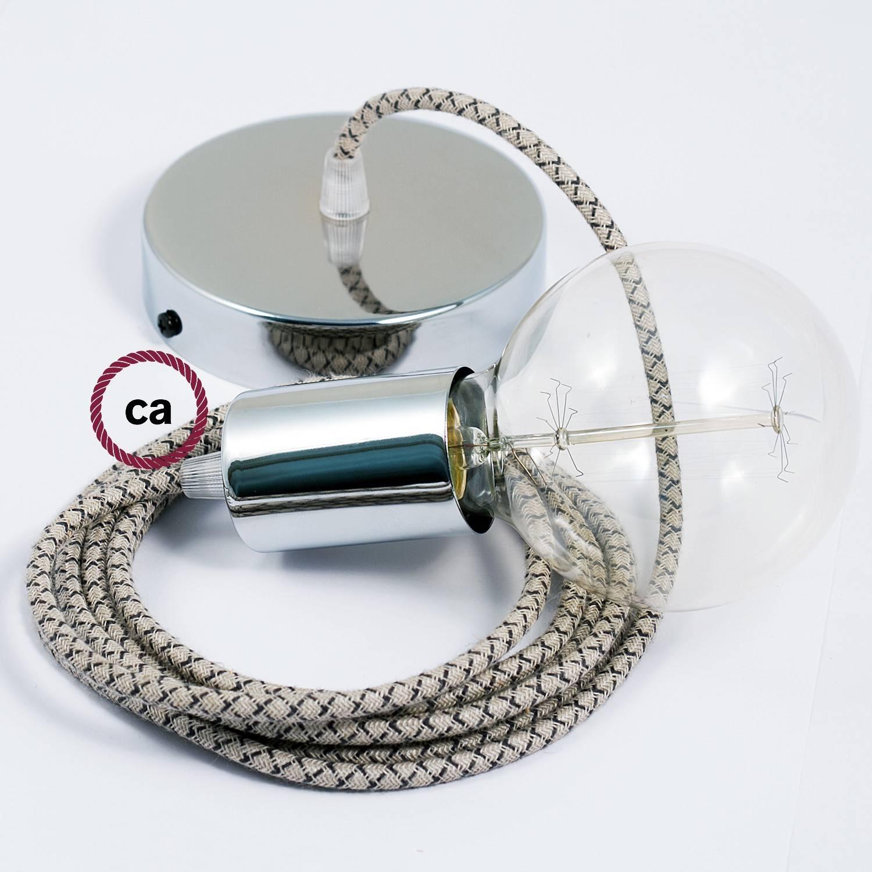 Pendel singolo, lampada sospensione cavo tessile Losanga Antracite RD64