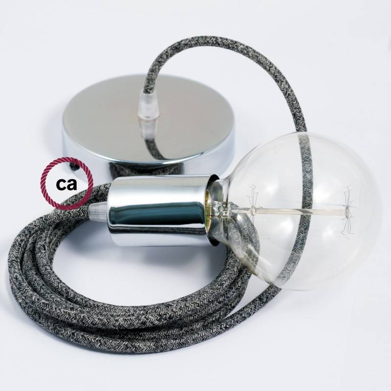 Pendel singolo, lampada sospensione cavo tessile Lino Naturale Glitterato Nero RS81