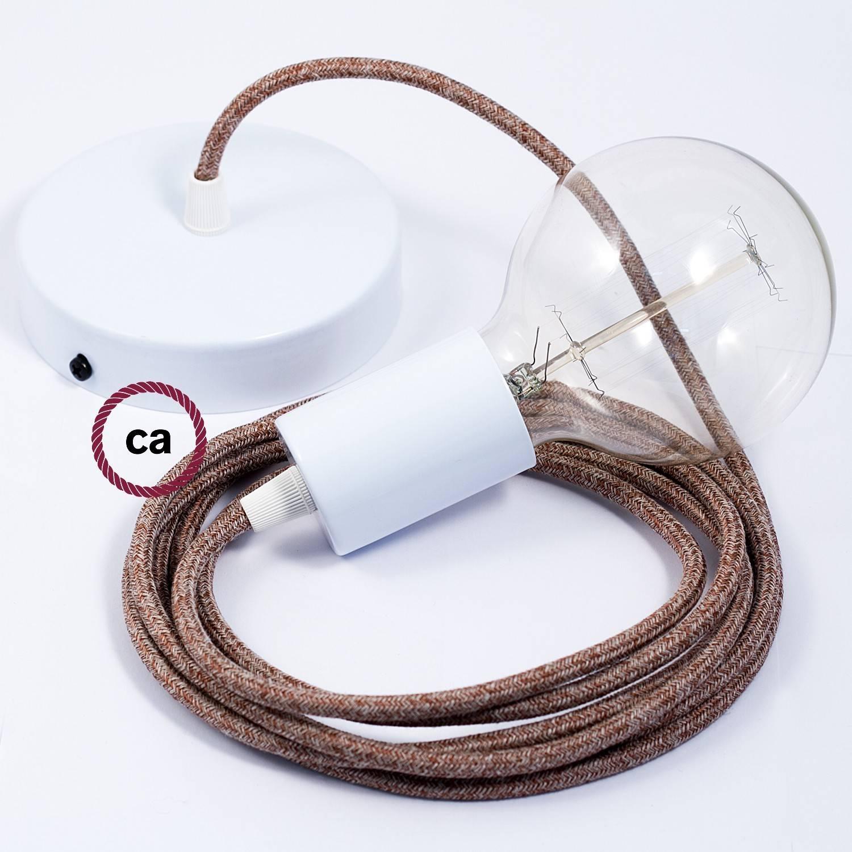 Pendel singolo, lampada sospensione cavo tessile Lino Naturale Glitterato Marrone RS82