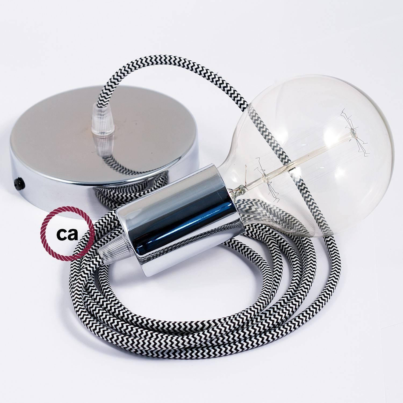 Pendel singolo, lampada sospensione cavo tessile ZigZag Nero RZ04