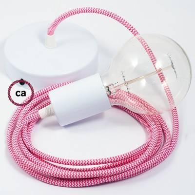 Pendel singolo, lampada sospensione cavo tessile ZigZag Fucsia RZ08