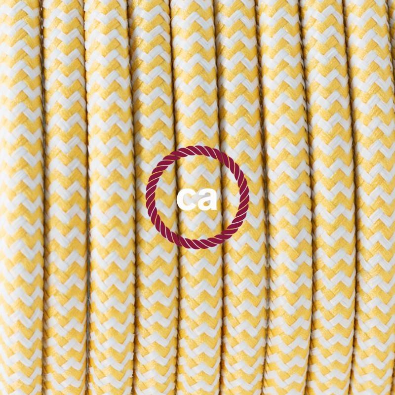 Pendel singolo, lampada sospensione cavo tessile ZigZag Giallo RZ10