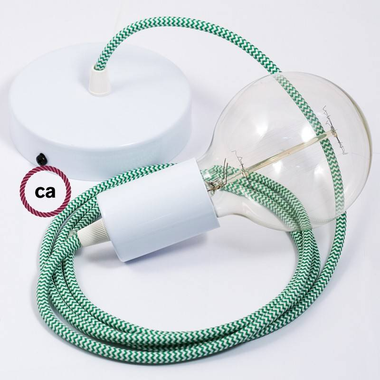 Pendel singolo, lampada sospensione cavo tessile ZigZag Verde RZ06