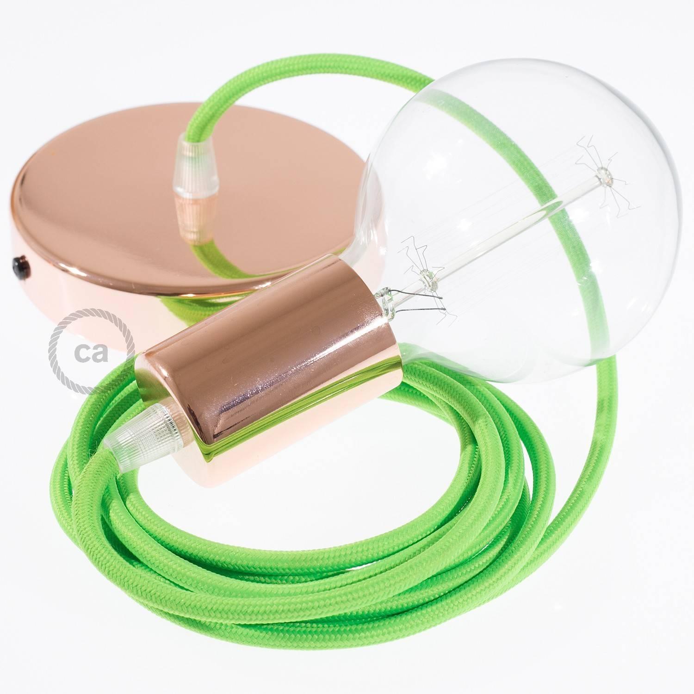 Pendel singolo, lampada sospensione cavo tessile Verde Fluo RF06