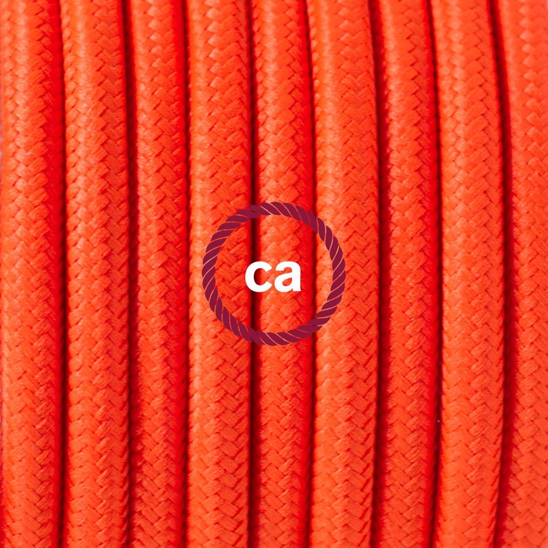 Pendel singolo, lampada sospensione cavo tessile Arancione Fluo RF15