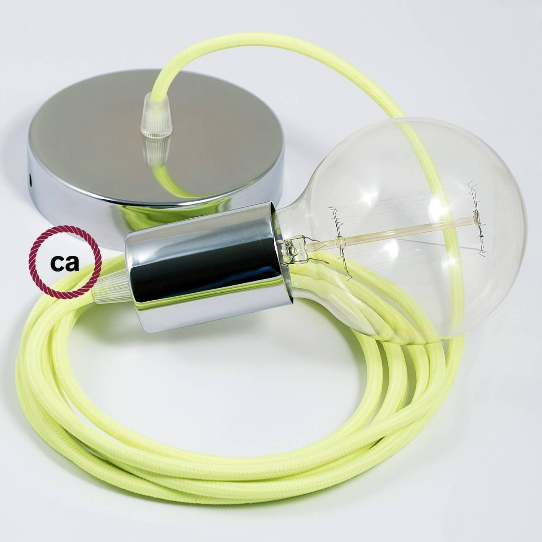 Pendel singolo, lampada sospensione cavo tessile Giallo Fluo RF10