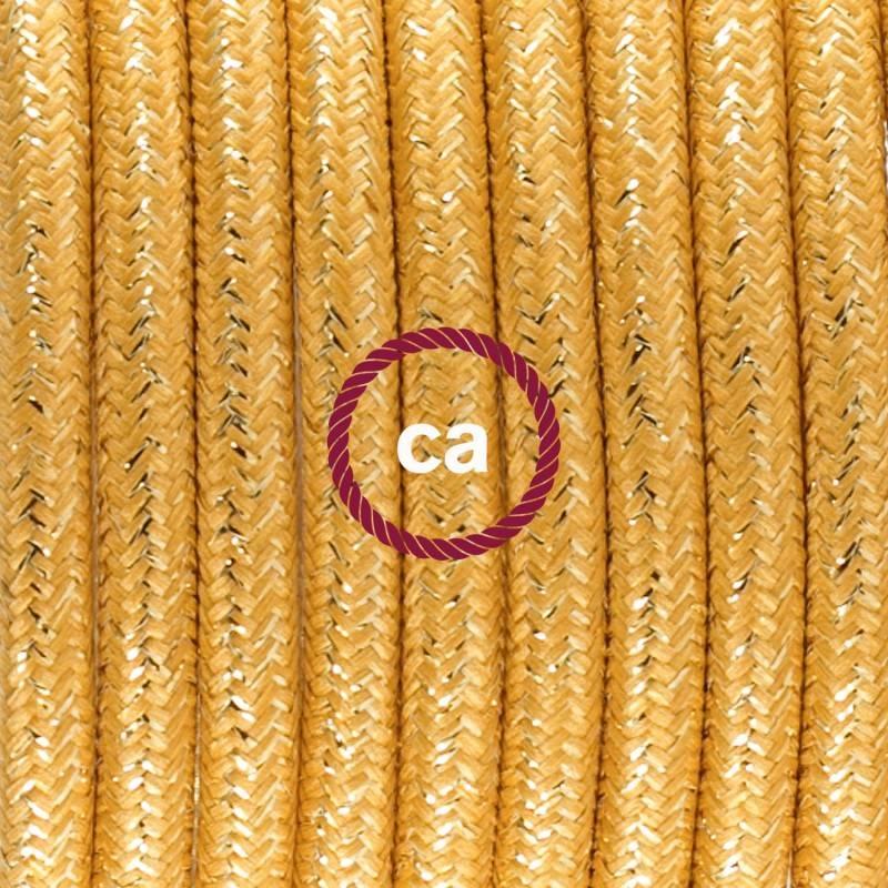 Pendel singolo, lampada sospensione cavo tessile Glitterato Oro RL05