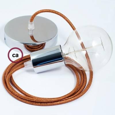 Pendel singolo, lampada sospensione cavo tessile Glitterato Rame RL22