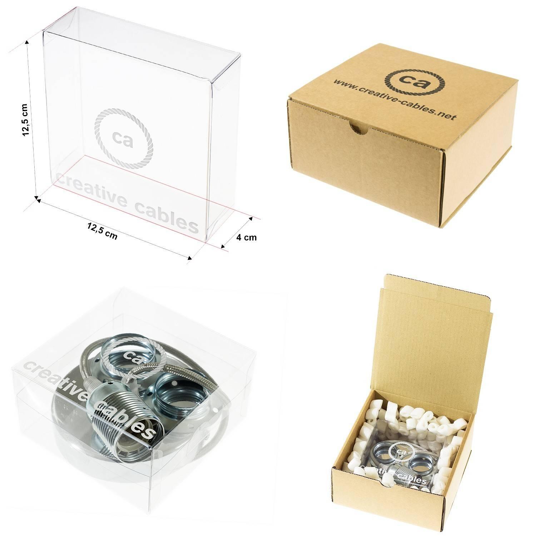 Pendel singolo, lampada sospensione cavo tessile Glitterato Argento RL02