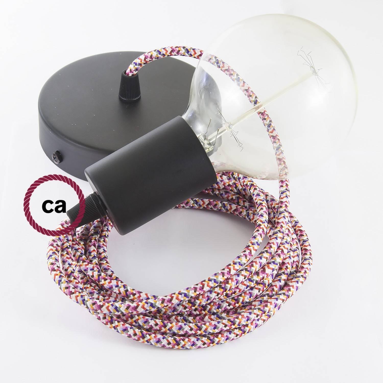Pendel singolo, lampada sospensione cavo tessile Pixel Fucsia RX00