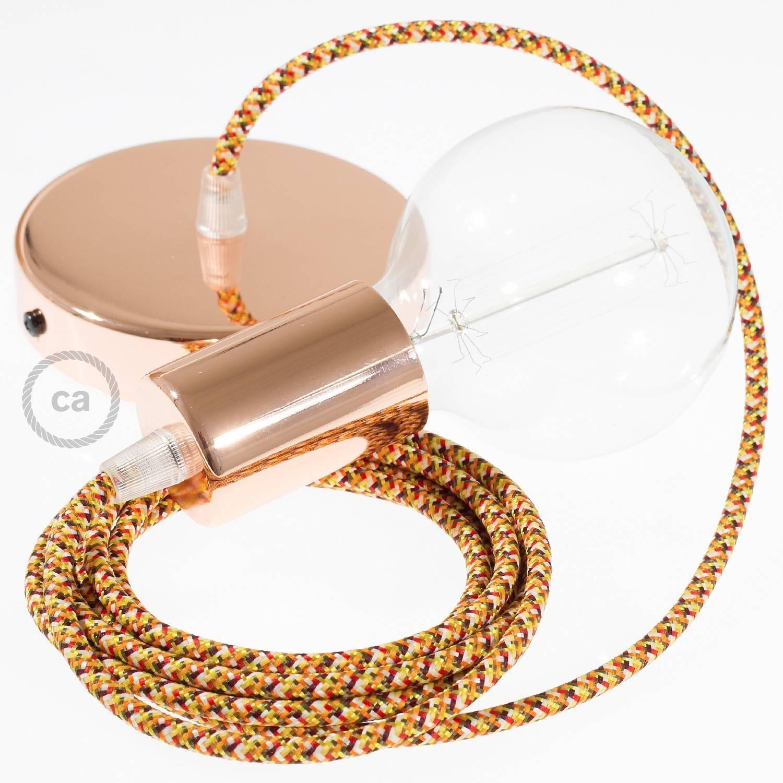 Pendel singolo, lampada sospensione cavo tessile Pixel Arancione RX01
