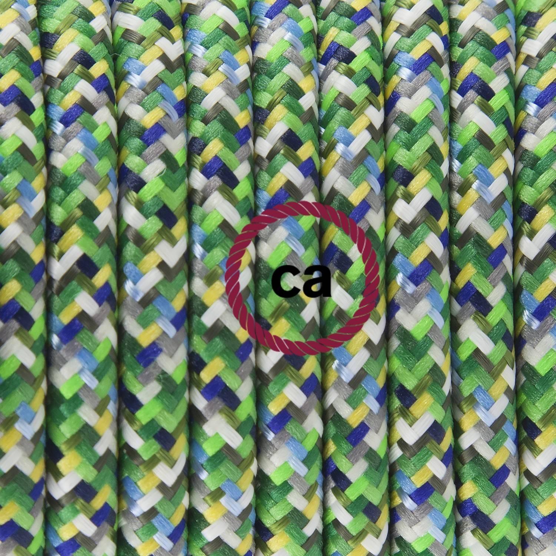 Pendel singolo, lampada sospensione cavo tessile Pixel Verde RX05