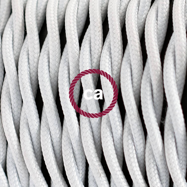 Pendel singolo, lampada sospensione cavo tessile Effetto Seta Bianco TM01