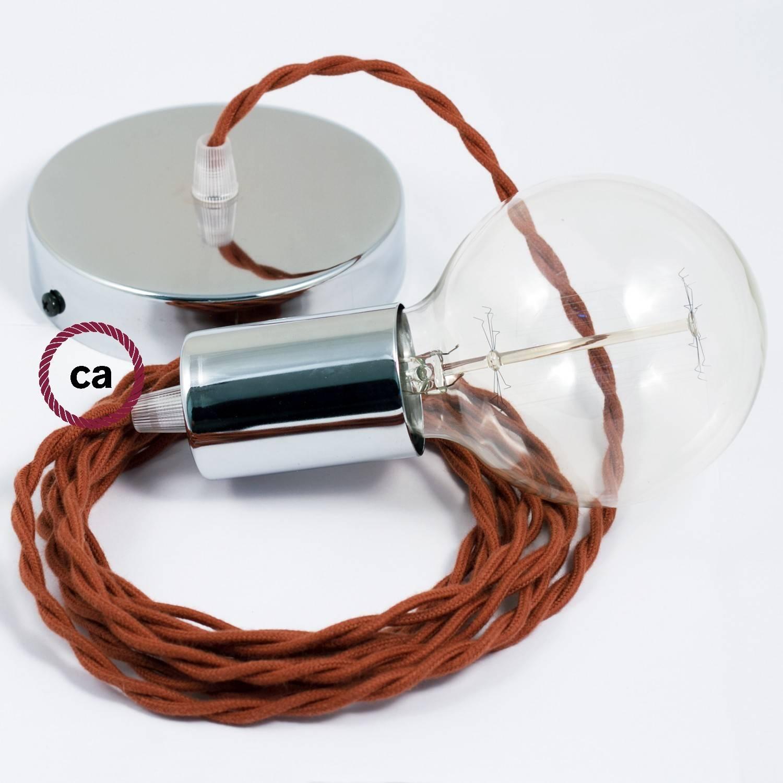 Pendel singolo, lampada sospensione cavo tessile Cotone Daino TC23
