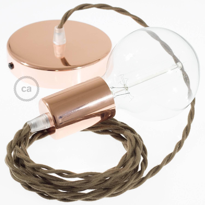 Pendel singolo, lampada sospensione cavo tessile Cotone Marrone TC13