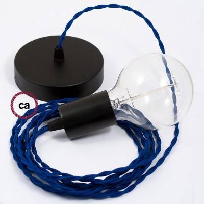 Pendel singolo, lampada sospensione cavo tessile Effetto Seta Blu TM12