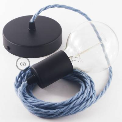 Pendel singolo, lampada sospensione cavo tessile Cotone Oceano TC53